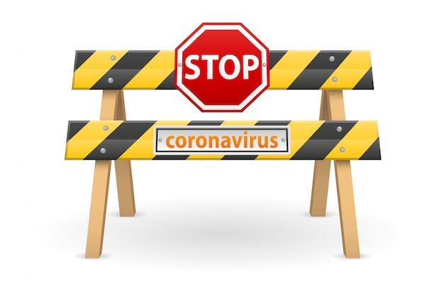 Stoppen sie die barrierequarantäne-coronavirus-epidemie