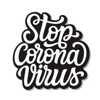 Stoppen sie die coronavirus-beschriftung