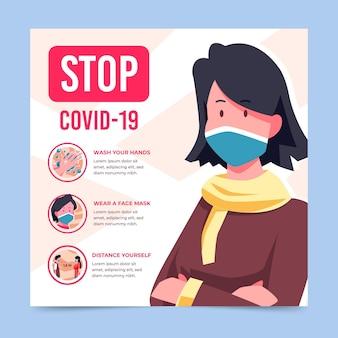 Stoppen sie die coronavirus-flyer-vorlage