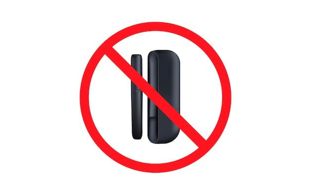 Stoppen sie die elektronische zigarette stoppen sie das rauchen des weißen geräts, das das tabaksystem erhitzt