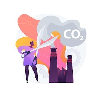 Stoppen sie die luftverschmutzung. kohlendioxidreduzierung, umweltschäden, atmosphärenschutz. toxisches emissionsproblem. ökologische freiwillige zeichentrickfigur.