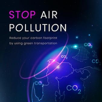 Stoppen sie die luftverschmutzungsvorlage vektor-umwelttechnologie-banner