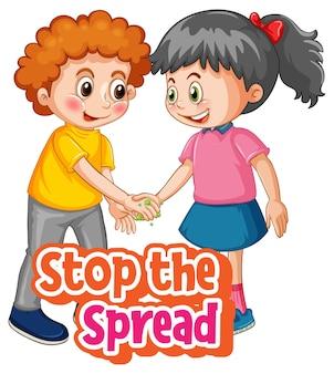 Stoppen sie die spread-schrift mit zwei kindern, halten sie die soziale distanzierung nicht isoliert auf weißem hintergrund aufrecht