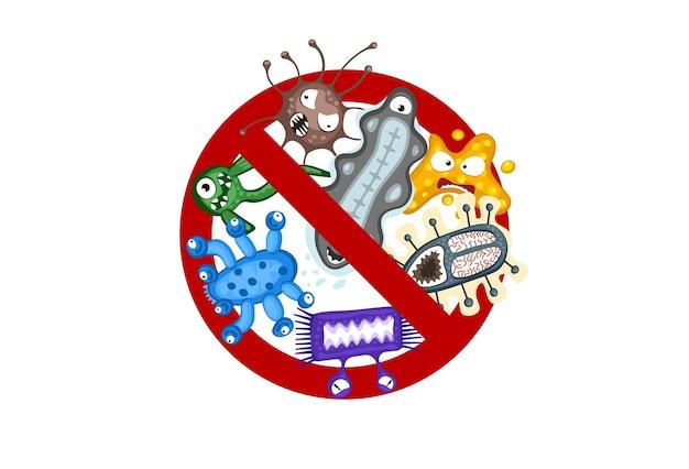 Stoppen sie die verbreitung von viruszeichen-cartoon-keimzeichen isolierte vektor-eps-illustration auf weißem hintergrund