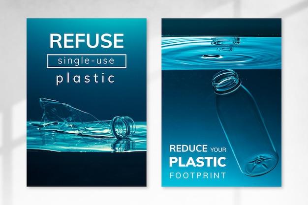Stoppen sie die verwendung von plastikkampagnenplakatvorlagen-set-modell