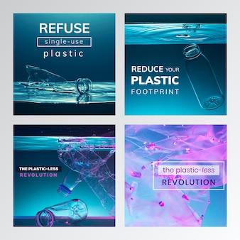 Stoppen sie die verwendung von social-media-vorlagen für plastikkampagnen