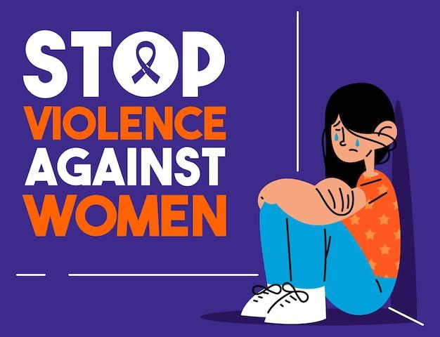 Stoppen sie gewalt gegen frauen-vektorillustration
