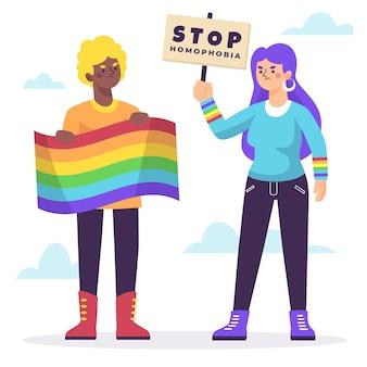 Stoppen sie homophobie mit regenbogenfahne