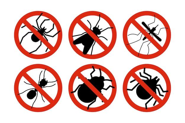Stoppen sie insekten. zecke, käfer und mückensilhouetten