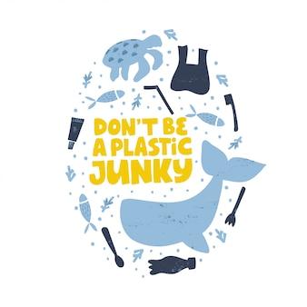 Stoppen sie isolierte illustration der wasserverschmutzung. sei kein plastik-junkie-wort-konzept.
