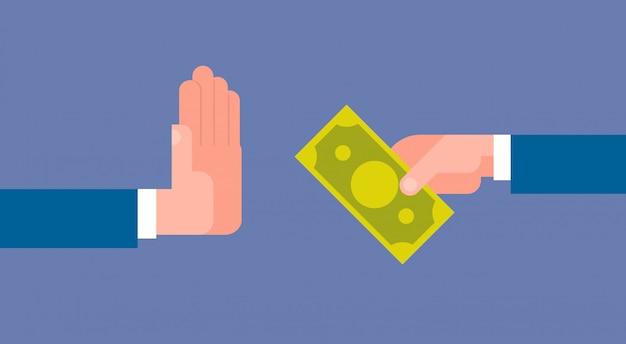 Stoppen sie korruptionskonzept-hand, die geschäftsmann geld gibt