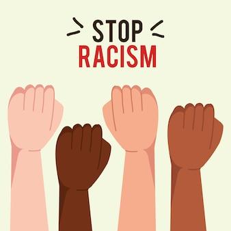 Stoppen sie rassismus mit den händen in der faust, konzept der schwarzen lebensmaterie