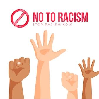 Stoppen sie rassismus mit erhobenen händen