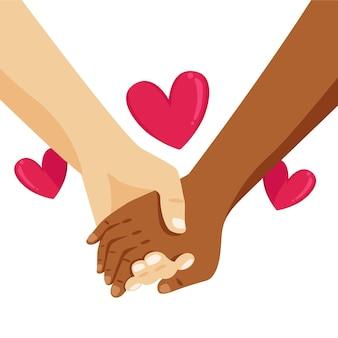 Stoppen sie rassismus mit händchenhalten