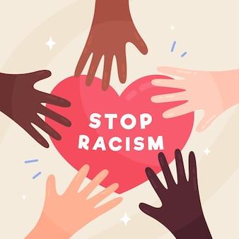 Stoppen sie rassismus mit händen und herzen