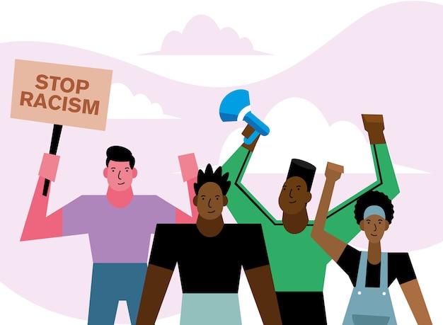 Stoppen sie rassismus schwarze leben materie banner megaphon und menschen design des protestthemas.