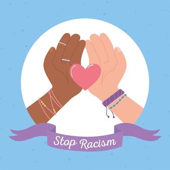 Stoppen sie rassismusillustration mit den händen, die herz halten