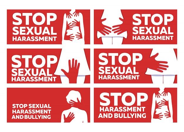 Stoppen sie sexuelle belästigung und bulling banner.