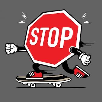 Stoppen sie signage-skater-skateboard-charakter