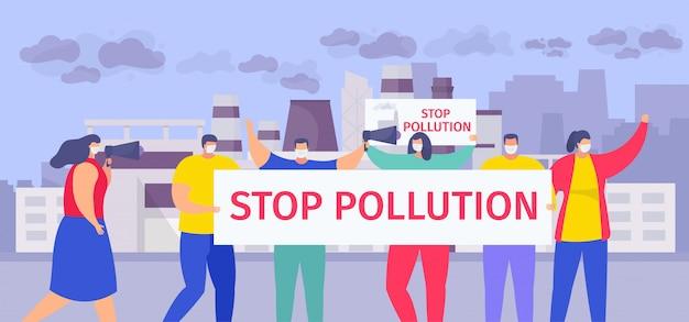 Stoppen sie verschmutzung, karikaturleute in den gesichtsmasken, die stoppluftverschmutzungszeichen halten, das auf dem städtischen straßenhintergrund steht