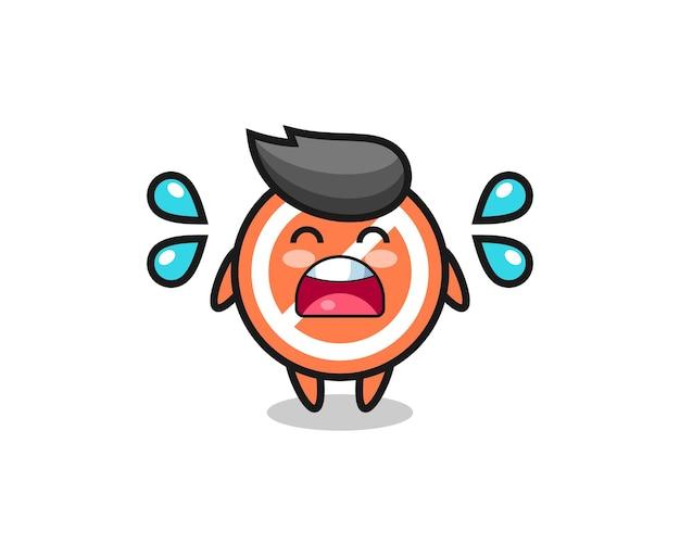 Stoppschild-cartoon-illustration mit weinender geste, süßes design für t-shirt, aufkleber, logo-element