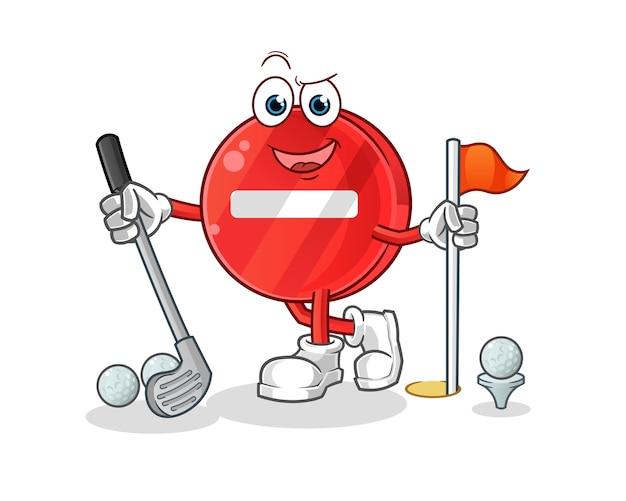 Stoppschild, das golfillustration spielt
