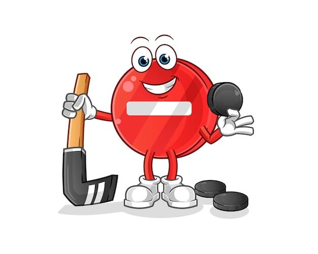 Stoppschild, das hockey-zeichentrickfigur spielt