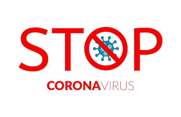 Stoppschild mit virus im inneren des coronavirus-pandemie-warnkonzepts vektor-kovid-stoppplakat corona...