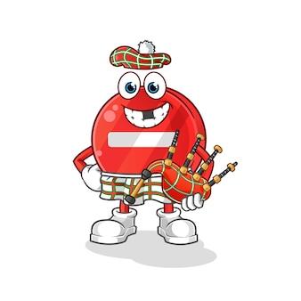 Stoppschild schottisch mit dudelsackillustration
