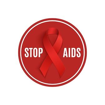 Stoppt das aids-schild mit dem roten band.