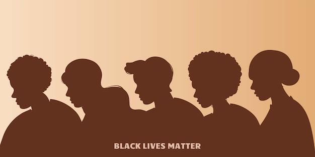 Stoppt rassismus. schwarzes leben ist wichtig, wir sind gleich. kein rassismuskonzept. flacher stil. verschiedene hautfarben. unterstützende illustration.