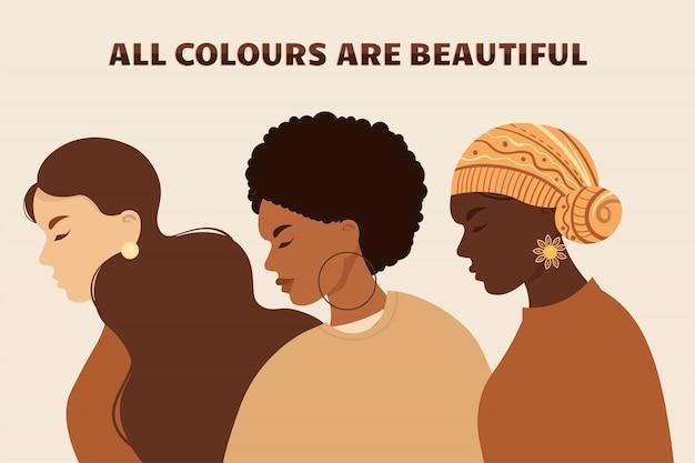 Stoppt rassismus. schwarzes leben ist wichtig, wir sind gleich. kein rassismuskonzept. junge afroamerikanische aktivisten gegen rassismus. flacher stil. verschiedene hautfarben. unterstützende illustration.