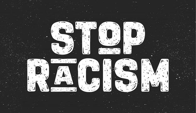 Stoppt rassismus. sms für protestaktion