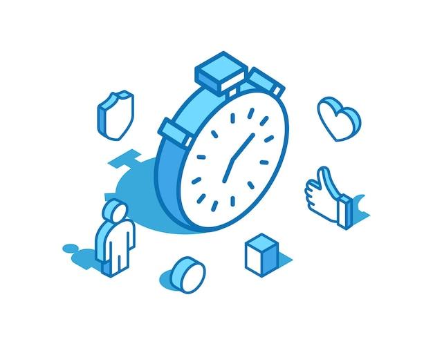 Stoppuhr blaue linie isometrische illustration timer-uhr 3d-banner-vorlage