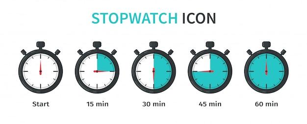 Stoppuhr, die die zeit für jede minute und sekunde herunterzählt