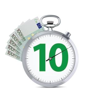 Stoppuhr mit 100-euro-banknote