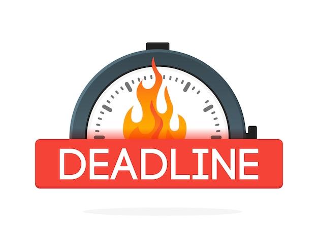 Stoppuhr mit feuerflammenabzeichen. deadline-konzept. symbol