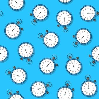 Stoppuhr nahtloses muster auf einem blauen hintergrund. timer-symbol-thema-vektor-illustration