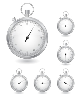 Stoppuhr-timer-symbolsatz isoliert auf weiß