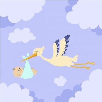 Storch, der mit baby im himmel fliegt