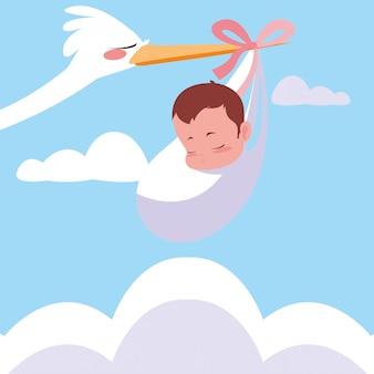 Storch fliegt mit babytasche