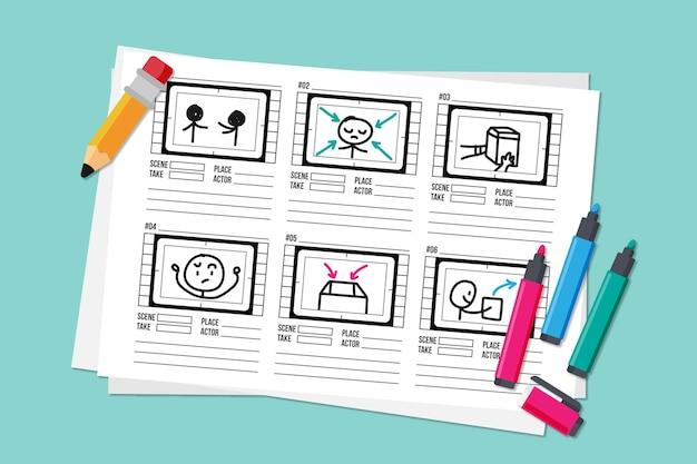 Storyboard-konzept mit bleistift und textmarkern