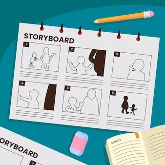 Storyboard-konzept mit gezeichneten szenen