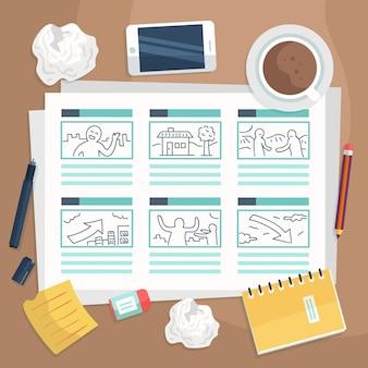 Storyboard-konzept mit telefon und kaffee