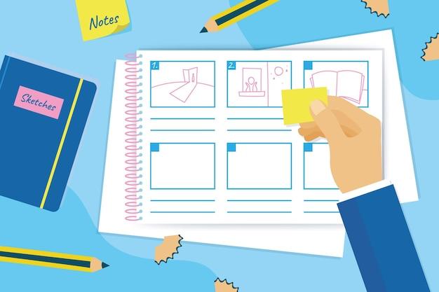 Storyboard-konzept mit zeichnungen