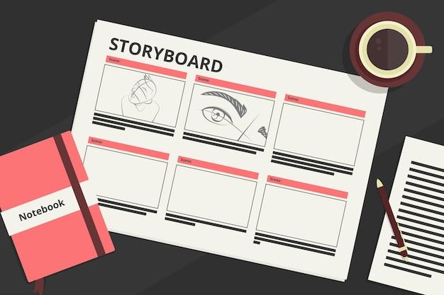 Storyboard-konzeptillustration
