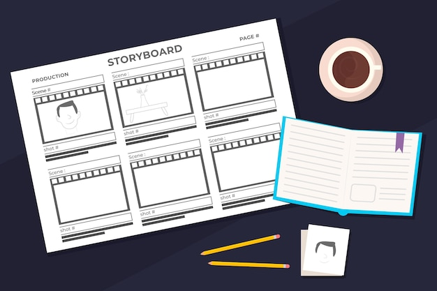 Storyboard tagesplaner und kaffee