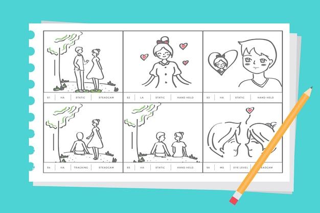 Storyboard über liebeskonzept