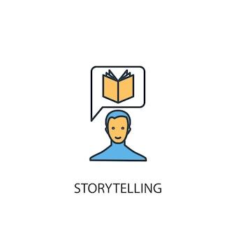 Storytelling-konzept 2 farbige liniensymbol. einfache gelbe und blaue elementillustration. storytelling-konzept skizziert symboldesign
