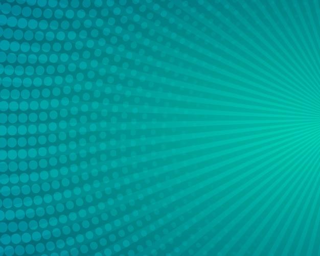 Strahlen und blauer halbton-comic-hintergrund für cartoon-plakatabdeckung premium-vektor